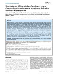 Plos One : Hypothalamic S-nitrosylation ... by Gaetano, Carlo