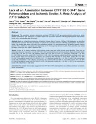 Plos One : Lack of an Association Betwee... by Torkamani, Ali