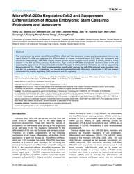 Plos One : Microrna-200A Regulates Grb2 ... by Pesce, Maurizio