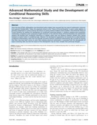 Plos One : Advanced Mathematical Study a... by Rustichini, Aldo