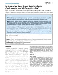 Plos One : is Obstructive Sleep Apnea As... by Sterr, Annette