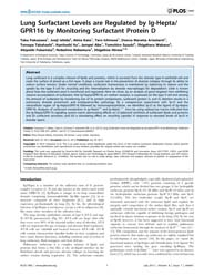 Plos One : Lung Surfactant Levels Are Re... by Morty, Rory Edward