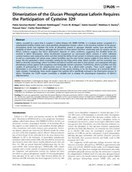 Plos One : Dimerization of the Glucan Ph... by Bogyo, Matthew