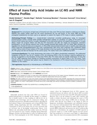 Plos One : Effect of Trans Fatty Acid In... by Oresic, Matej