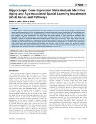 Plos One : Hippocampal Gene Expression M... by Vinciguerra, Manlio