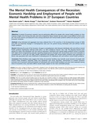 Plos One : the Mental Health Consequence... by Patterson, Randen Lee