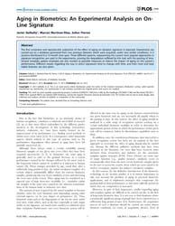 Plos One : Aging in Biometrics ; an Expe... by Abbott, Derek