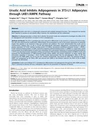 Plos One : Ursolic Acid Inhibits Adipoge... by López, Miguel