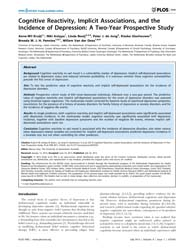 Plos One : Cognitive Reactivity, Implici... by Gray, Marcus