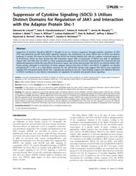 Plos One : Suppressor of Cytokine Signal... by Williams, Jeffrey Graham