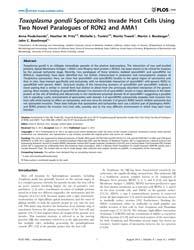 Plos One : Toxoplasma Gondii Sporozoites... by Moreno, Silvia N.