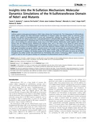 Plos One : Insights Into the N-sulfation... by Parker, Emily