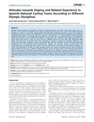 Plos One : Attitudes Towards Doping and ... by Taffe, Michael