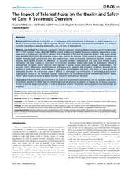 Plos One : the Impact of Telehealthcare ... by Lovis, Christian