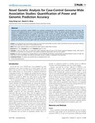 Plos One : Novel Genetic Analysis for Ca... by Zaykin, Dmitri
