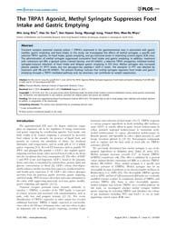 Plos One : the Trpa1 Agonist, Methyl Syr... by Blachier, Francois