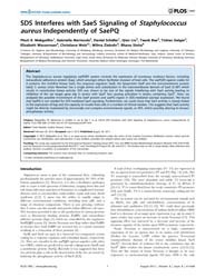 Plos One : Sds Interferes with Saes Sign... by Msadek, Tarek