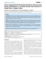 Plos One : Serum Lipoproteina Positively... by Cate, Ten, Hugo