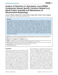Plos One : Analysis of Mutations in Neur... by Misra, Rajeev