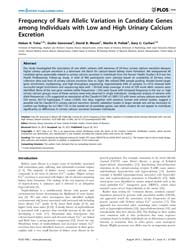 Plos One : Frequency of Rare Allelic Var... by Xiong, Momiao