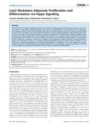 Plos One : Lats2 Modulates Adipocyte Pro... by Wanjin, Hong
