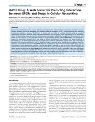 Plos One : Igpcr-drug ; a Web Server for... by Singh, Seema