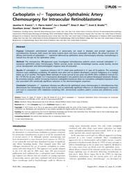 Plos One : Carboplatin +, Volume 8 by Vavvas, Demetrios