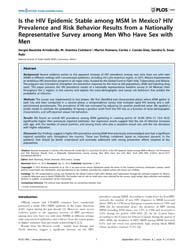Plos One : is the Hiv Epidemic Stable Am... by Wainberg, Mark