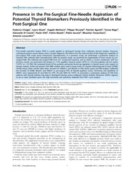 Plos One : Presence in the Pre-surgical ... by Fusco, Alfredo
