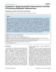 Plos One : Endothelin-1 Single Nucleotid... by Calafell, Francesc