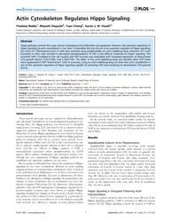 Plos One : Actin Cytoskeleton Regulates ... by Wanjin, Hong