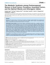 Plos One : the Metabolic Syndrome Among ... by Bolego, Chiara