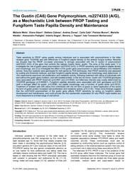 Plos One : the Gustin CA6 Gene Polymorph... by Behrens, Maik