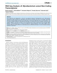 Plos One : Rna-seq Analysis of Mycobacte... by Mokrousov, Igor