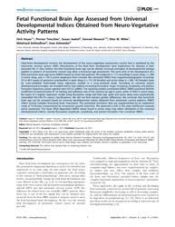 Plos One : Fetal Functional Brain Age As... by Baumert, Mathias