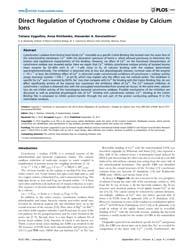 Plos One : Direct Regulation of Cytochro... by Dmitriev, Y. Oleg