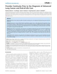 Plos One : Provider Continuity Prior to ... by Cho, William C. S.