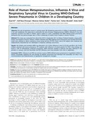 Plos One : Role of Human Metapneumovirus... by Semple, Malcolm Gracie