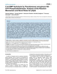 Plos One : C-di-gmp Hydrolysis by Pseudo... by Kaufmann, Gunnar F