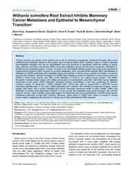 Plos One : Withania Somnifera Root Extra... by Klymkowsky, Michael