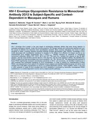 Plos One : Hiv-1 Envelope Glycoprotein R... by Liu, Shan-lu