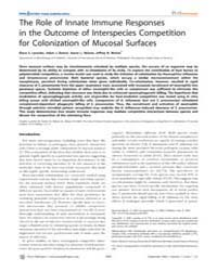 Plos Pathogens : the Role of Innate Immu... by Portnoy, Daniel A.