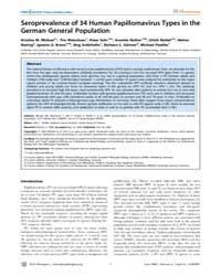 Plos Pathogens : Seroprevalence of 34 Hu... by T. Schiller,john