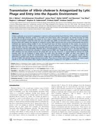 Plos Pathogens : Transmission of Vibrio ... by M.Ausube,frederick