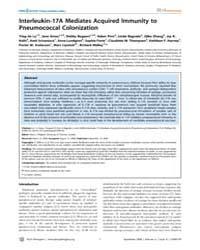 Plos Pathogens : Interleukin-17A Mediate... by J.Philpott,dana