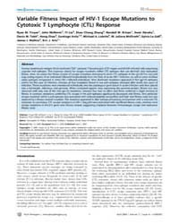 Plos Pathogens : Variable Fitness Impact... by Troyer Ryan M.