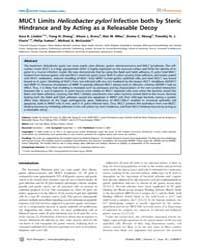 Plos Pathogens : Muc1 Limits Helicobacte... by Linden Sara K.