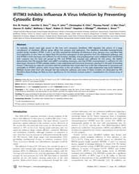 Plos Pathogens : Ifitm3 Inhibits Influen... by Diamond, Michael S.