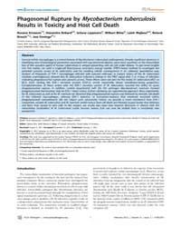 Plos Pathogens : Phagosomal Rupture by M... by Ehrt, Sabine
