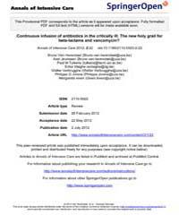 Annals of Intensive Care : July 2012 by Jean-louis Teboul, Le Kremlin-bicêtre